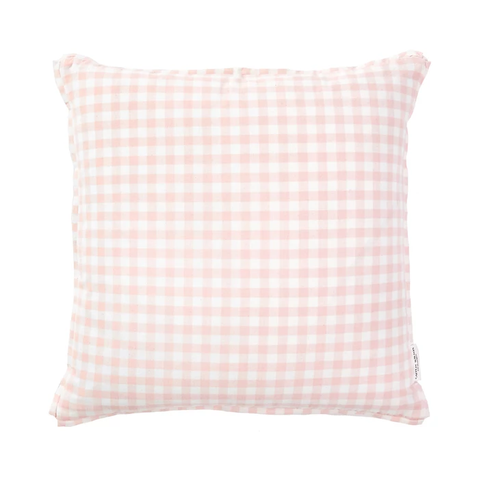 Peach Gingham Pillow With French Welt Pillows Chic Pillows Blush Pillows