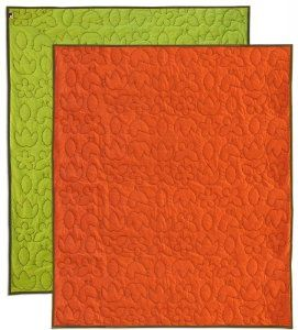 """notNeutral Season Throw Quilt Reversible, Persimmon/Green/Sable, 50-Inch by 60-Inch :           We have embroidered our Season pattern onto this reversible quilt. One side is Persimmon Orange, the other is Lotus Green and the embroidery and edging is Sable Brown. This throw quilt is 50"""" x 60""""."""