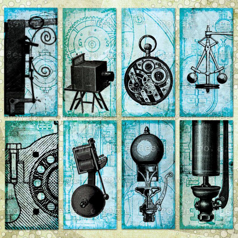 Steampunk Ephemera Digital Collage Sheet 1x2in Machinery