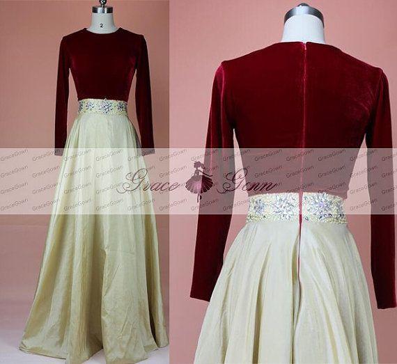 Prom Kleid Vintage Langarm Kleid Frauen von GraceGown auf Etsy