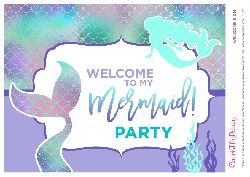 Download These Free Mermaid Printables Now Mermaid Welcome Sign See More Party Ideas Mermaid Party Decorations Mermaid Party Printables Girls Mermaid Party