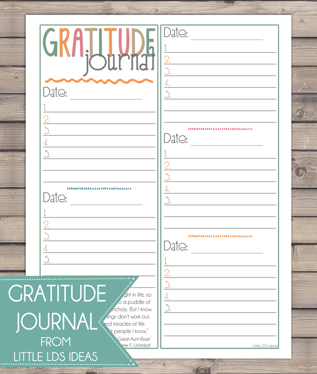 Invaluable image in gratitude journal printable
