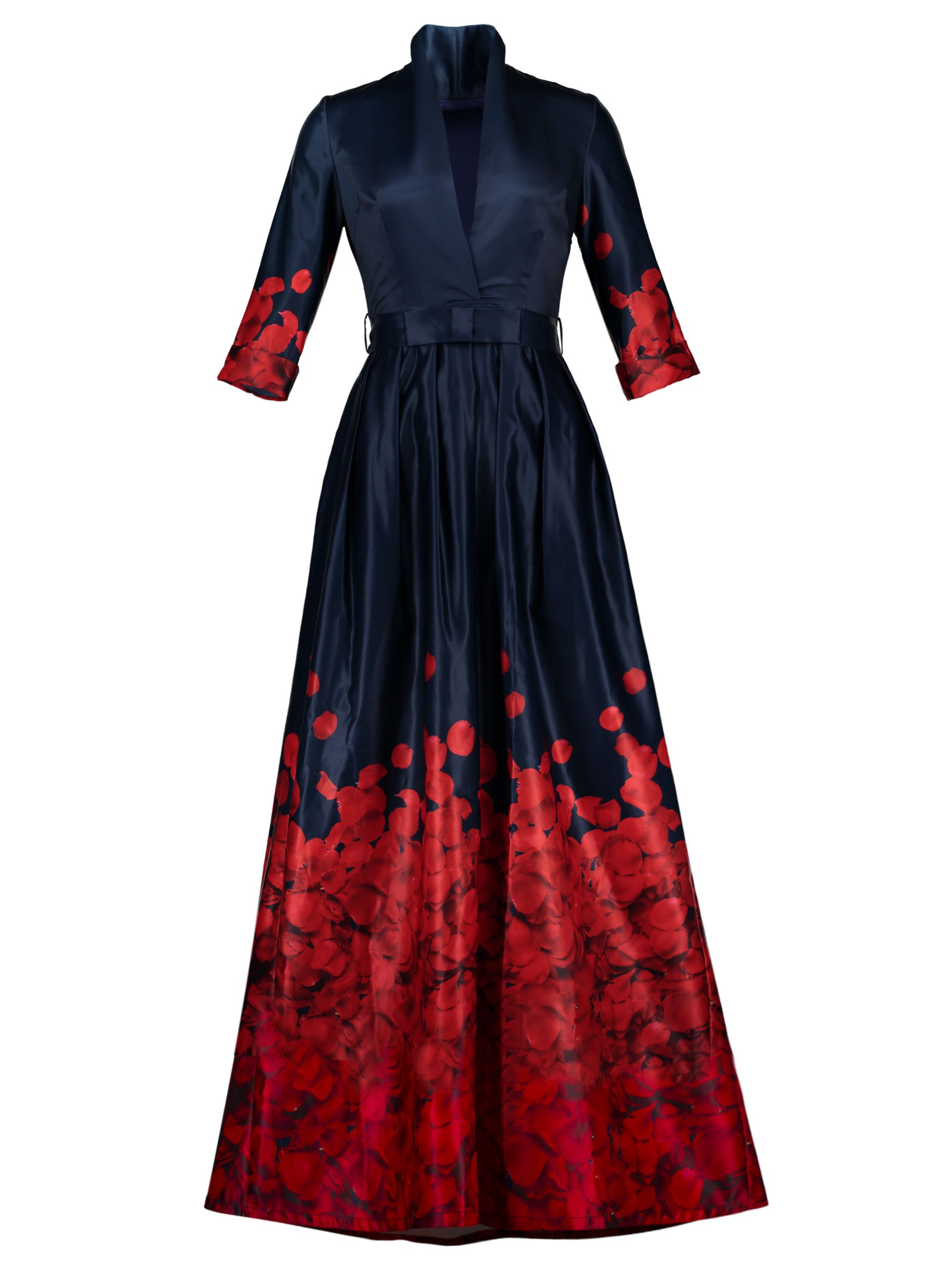 Dark blue petals printed womenus maxi dress womenus maxi dresses