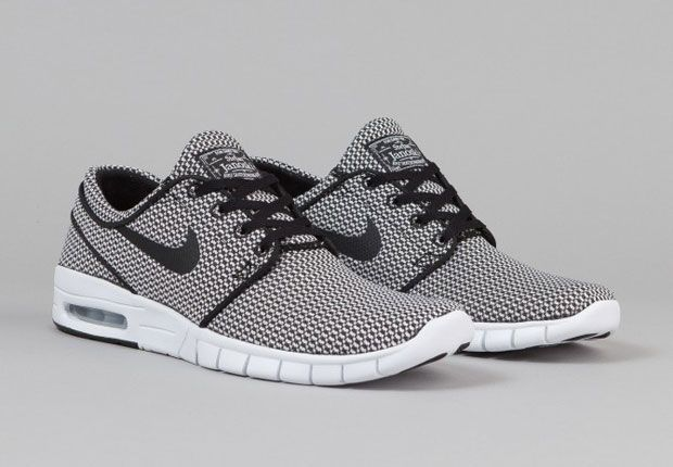 Black and White Textiles On The Nike SB Stefan Janoski Max - SneakerNews.com