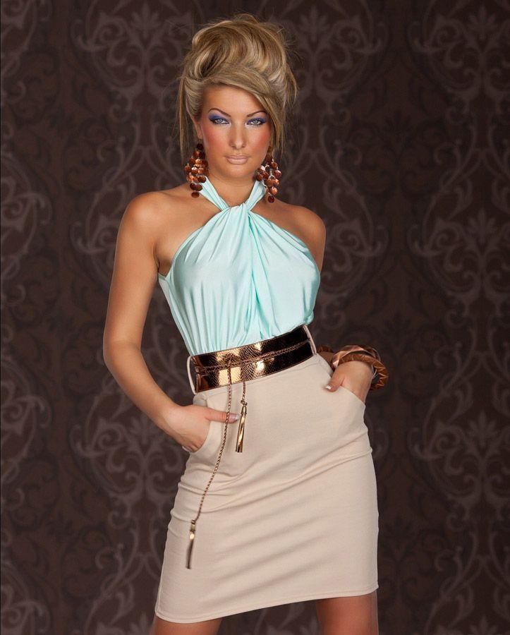 robe femme soiree tendance haut turquoise tour de cou et. Black Bedroom Furniture Sets. Home Design Ideas
