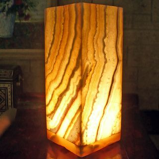 Natural Alabaster Karnak Lamp , Handmade in Egypt by Cti Home One