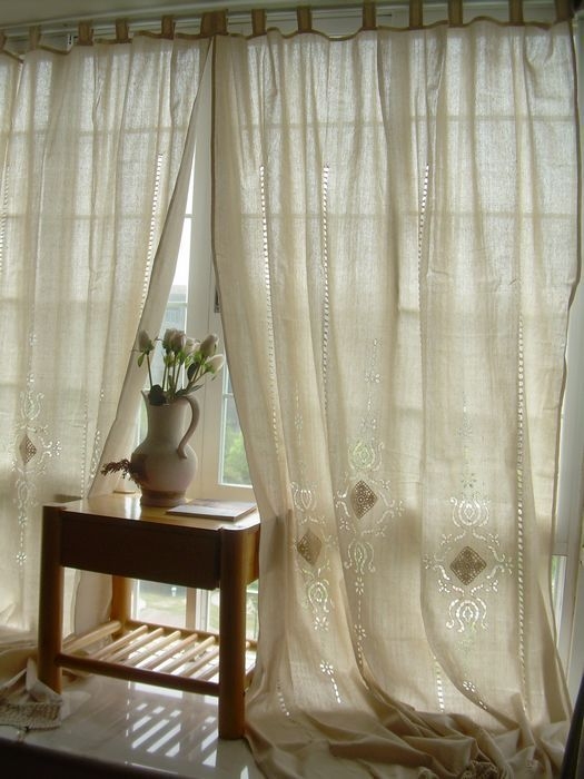 Vintage Cutwork Lace Decorated Off White Large Cotton Curtain