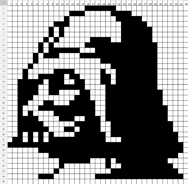 Darth Vader Cross Stitch Pattern Two Colour Star Wars