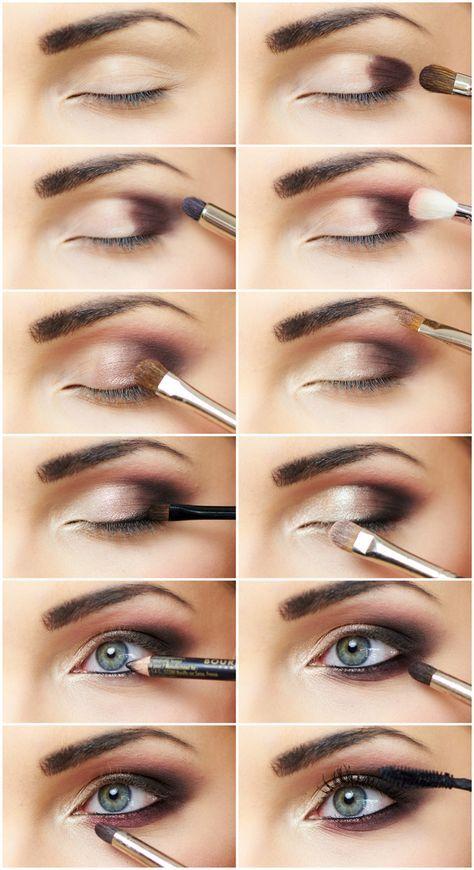 smokey eyes schminken schritt für schritt bilder blaue Augen #beauty #makeup #makeuptips