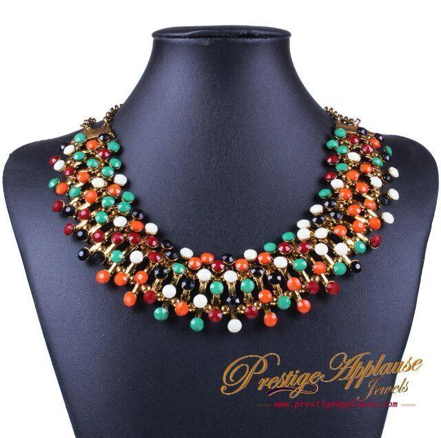 A Handmade Muliticolor Rhinestone Necklace #prestigeapplause #prestige #fashion #rhinestone #handmade #necklaceoftheday #bespoke www.prestigeapplause.com