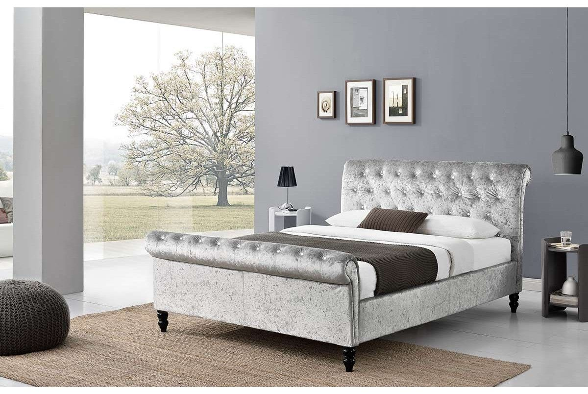 St James Diamante Silver Crushed Velvet Chesterfield Sleigh Bed