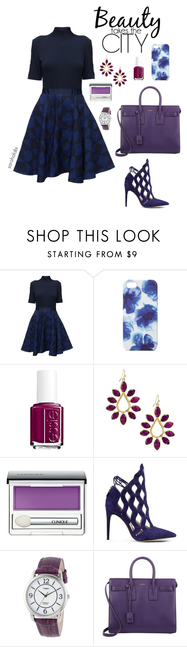 """live or evil ?"" by sarsouur ❤ liked on Polyvore featuring Lattori, Jigsaw, Essie, Kendra Scott, Clinique, Alexandre Birman, Timex and Yves Saint Laurent"