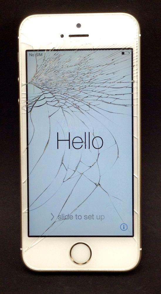 apple gold iphone 5s verizon wireless cracked screen phone works no sim good esn apple