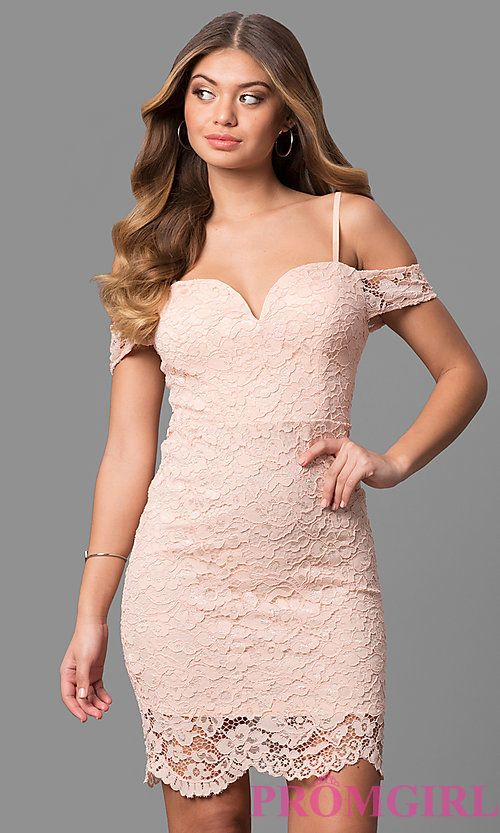 Short Pink Lace Party Dress with Banded Sleeves  d660b2bfc49d
