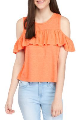 2b400757a818a5 True Craft Girls  Ruffle Cold Shoulder Top - Coral Flame - Xl