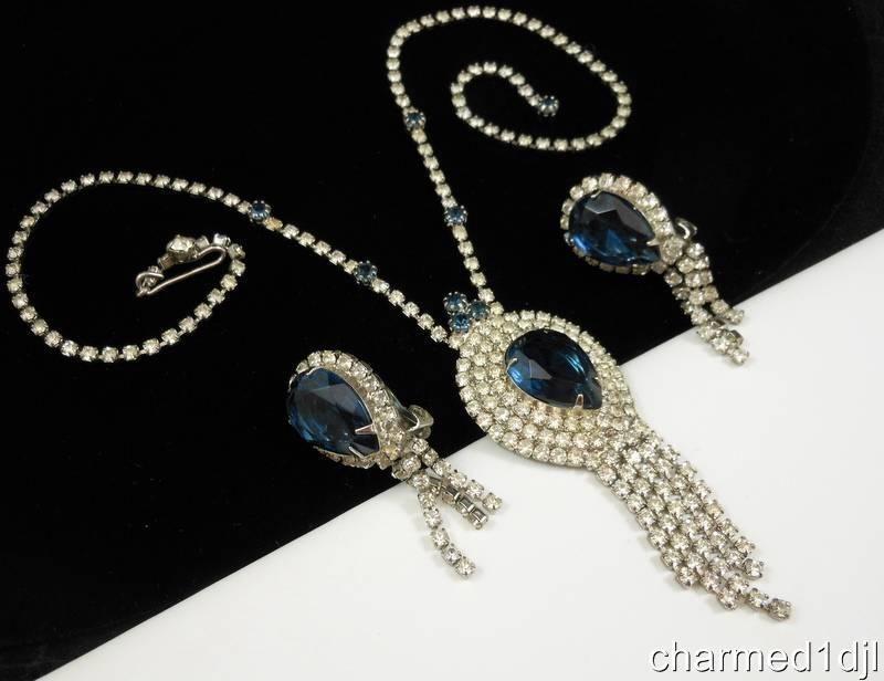 VTG Juliana Sapphire Blue Rhinestone Waterfall Necklace Earring Set 1960's FAB! $275.00 or Best Offer