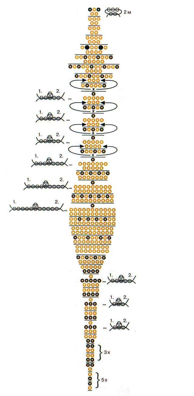 схема плетения калибри из бисера