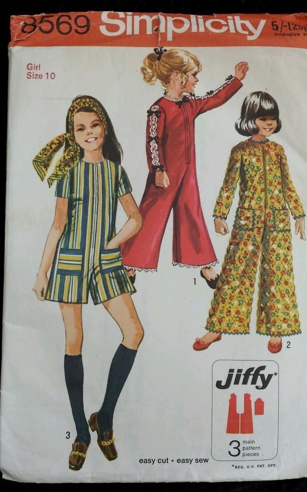 Vintage 60s Sewing Pattern Simplicity 8569 Girls Jumpsuits Lace Trim ...