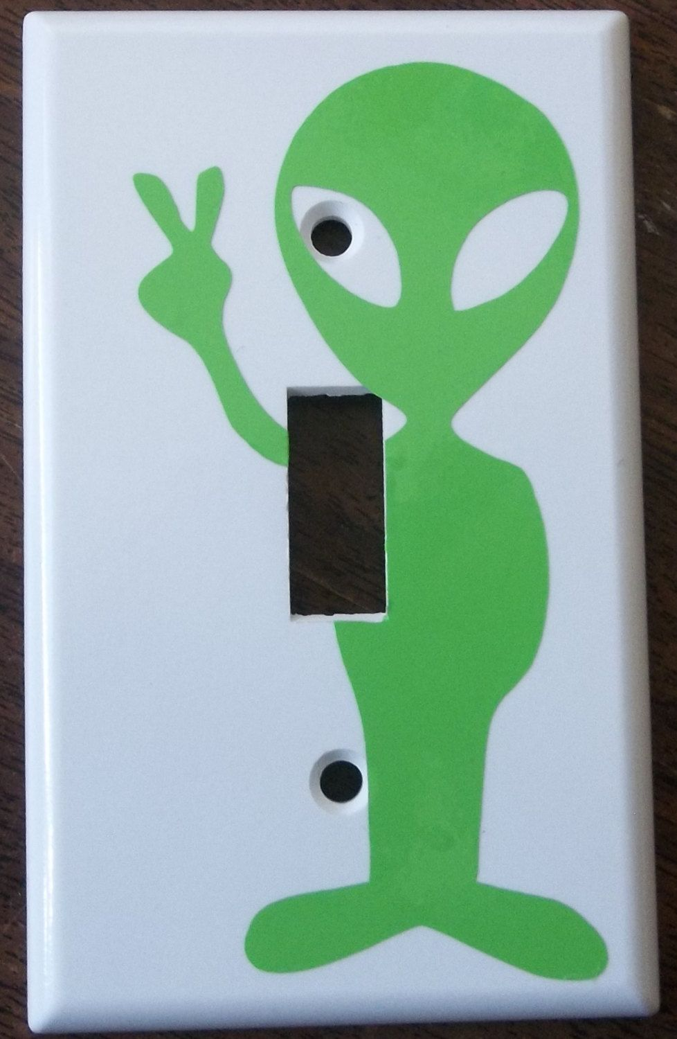 Alien Peace sign You Pick Color Light Switch Plate Cover Vinyl Decal ...