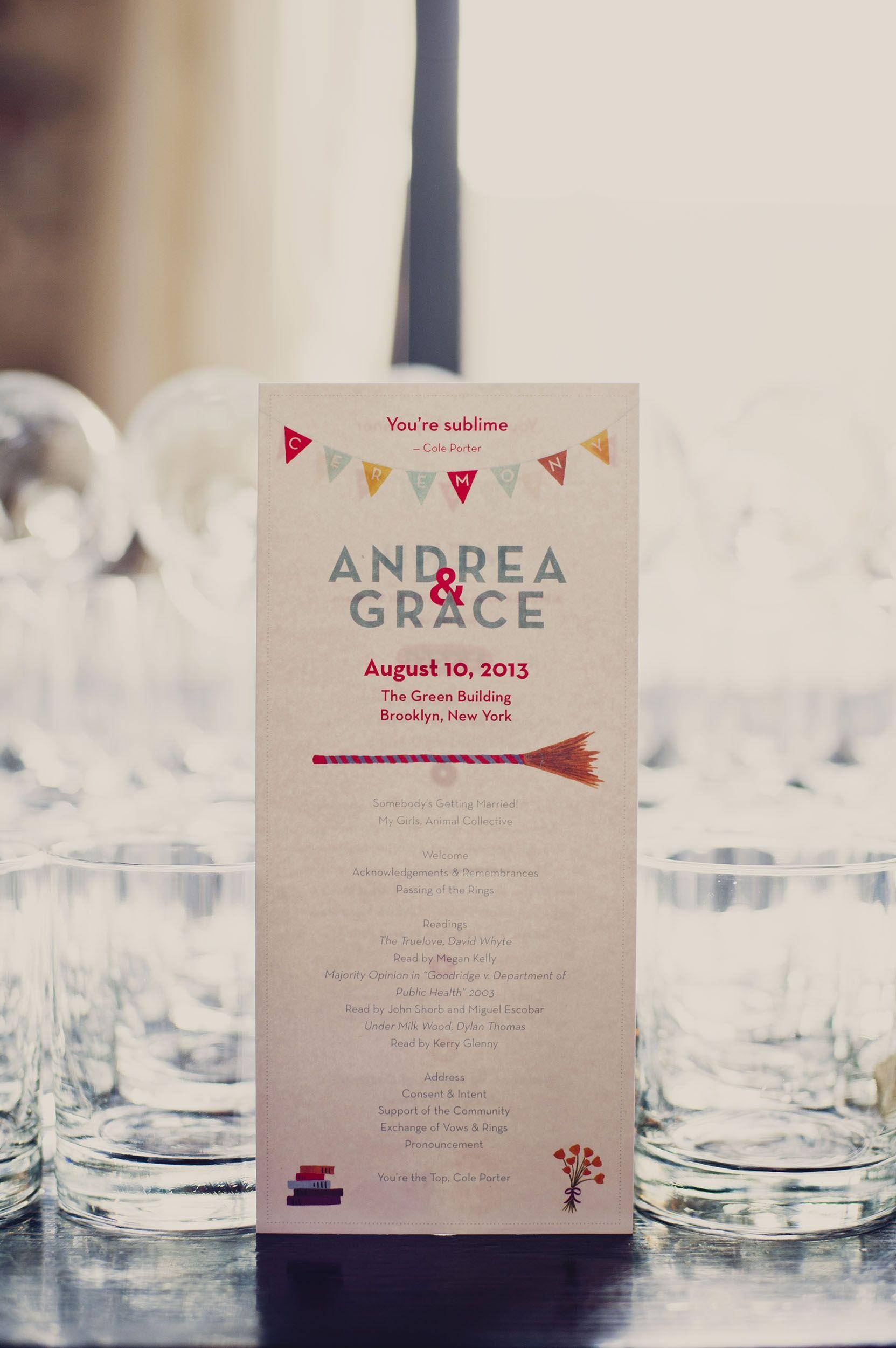 Modern Wedding Program | Khaki Bedford Weddings | TheKnot.com ...