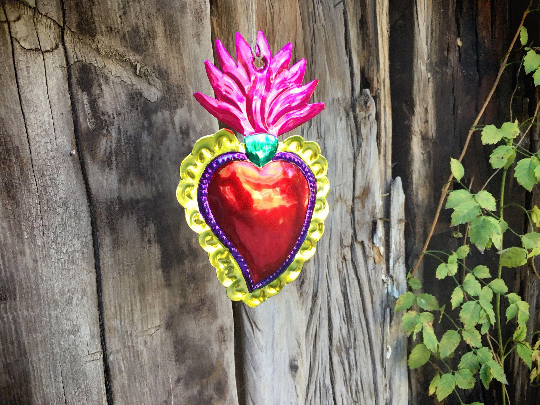 Vintage Mexican Tin Ornament Sacred Heart Christmas ...