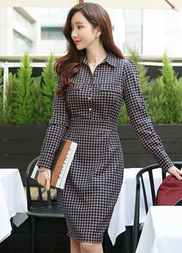 Check Print Collared Shirt Style Dress, Styleonme