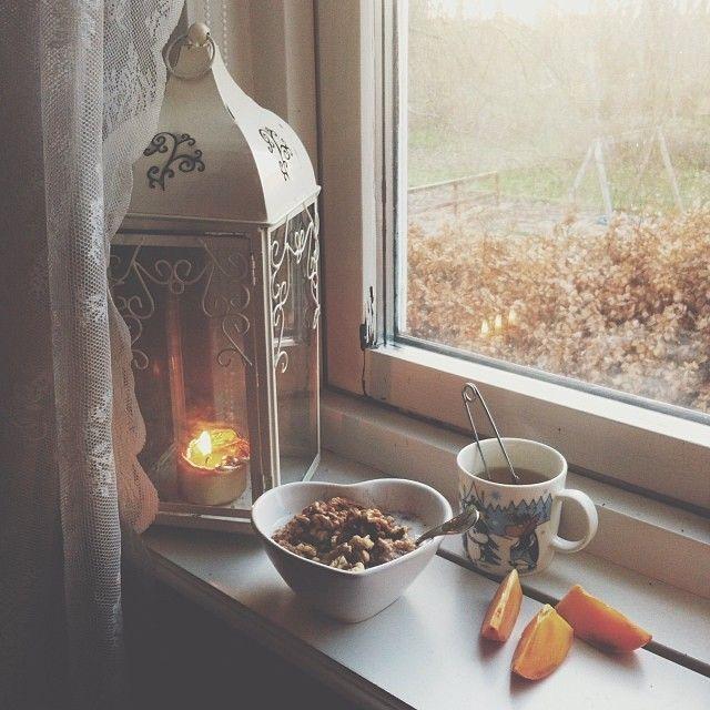 Tea, window, winter