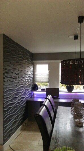 3D wandpanelen Wave toegepast in woonkamer in Oosterhout gespoten in ...