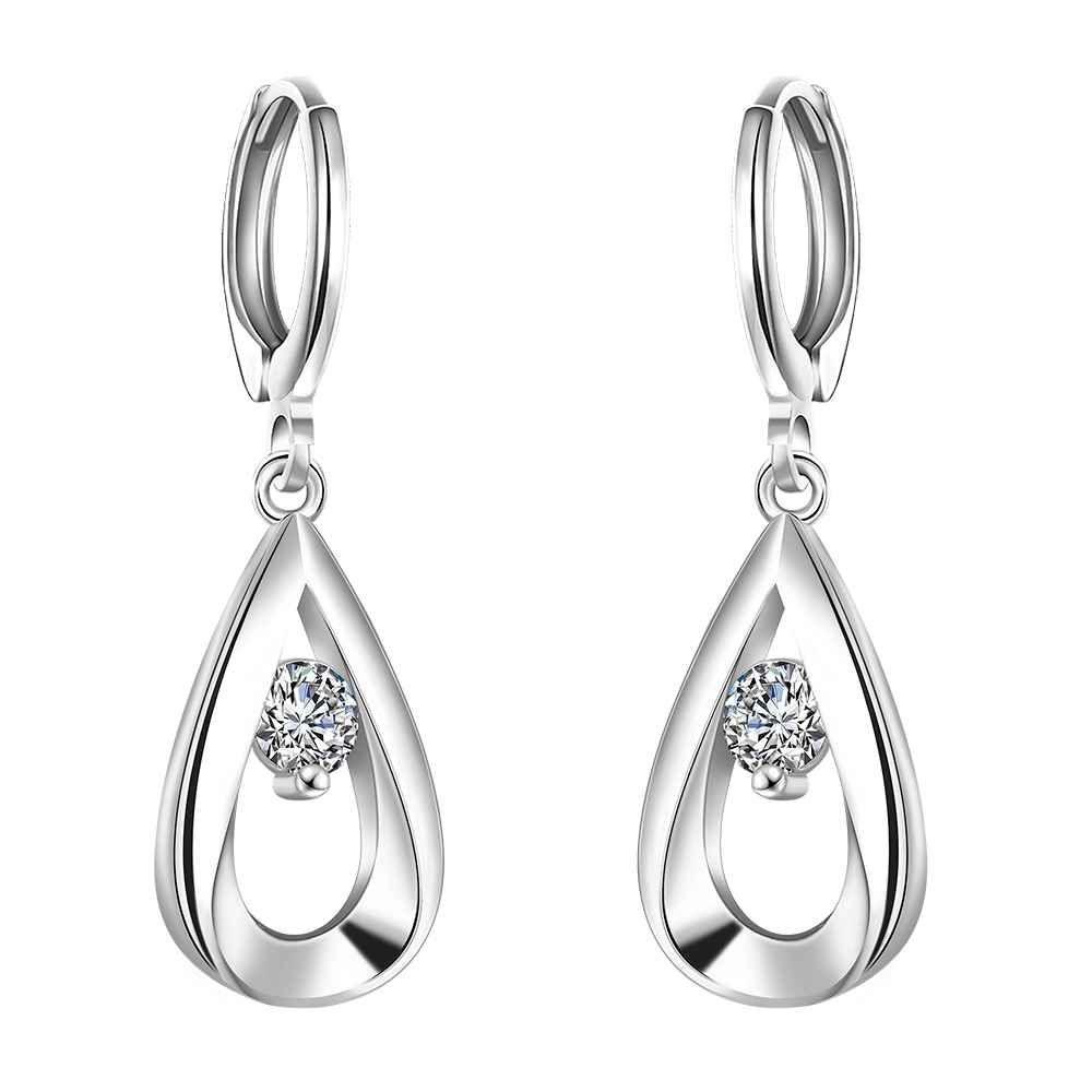 Gratis Verzending Nieuwe Koop verzilverd oorbellen fashion sieraden druppelvormige drop brinco bijoux femme