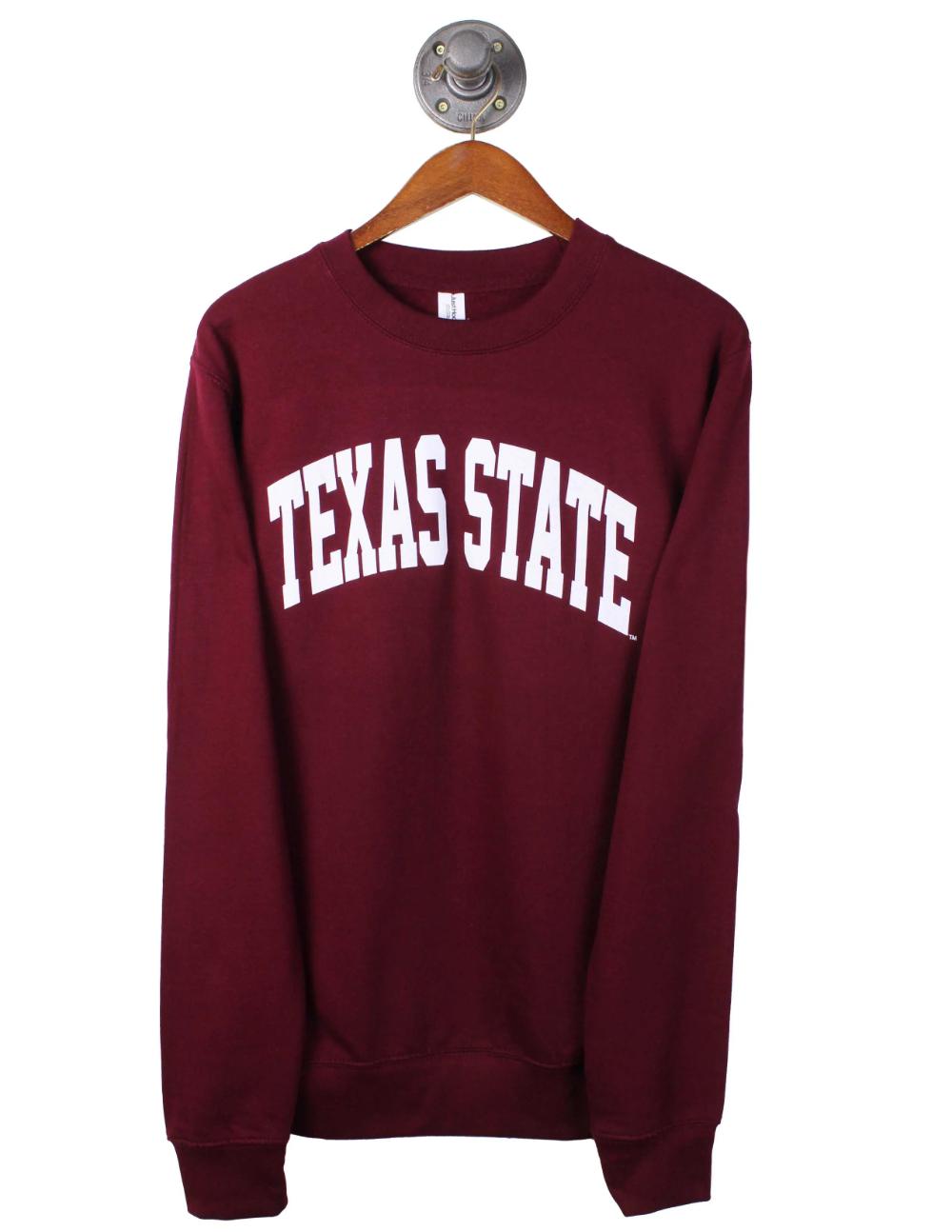 Txst Prestige Crewneck Barefoot Campus Outfitter In 2021 State Sweatshirt The Prestige Crew Neck [ 1294 x 1000 Pixel ]