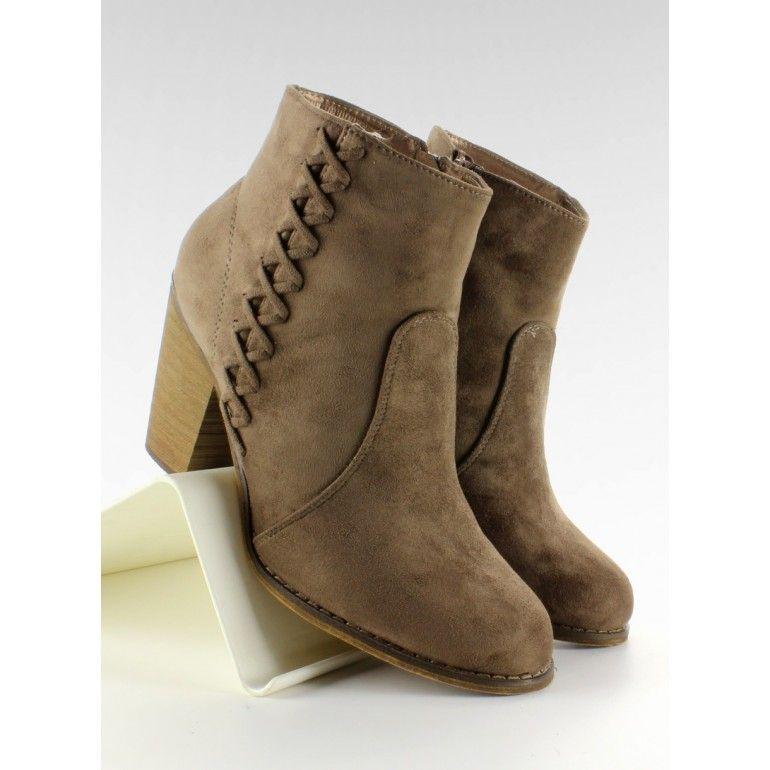 Botki Kowbojki Na Obcasie 58 386 Taupe Tanie Buty Sklep Immoda Boots Heels Heeled Boots