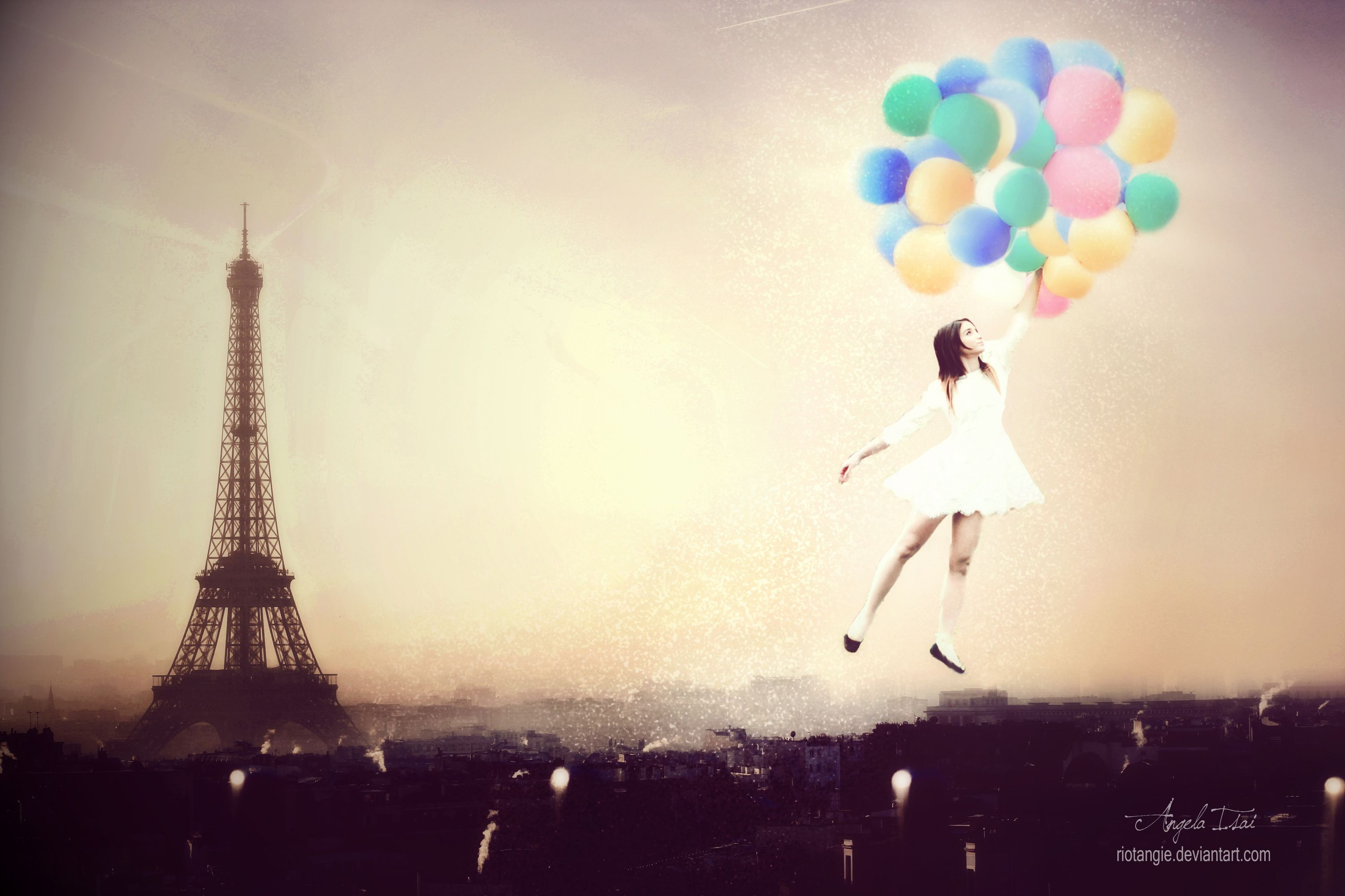 Paris Girl Balloons Colors Models Toureiffel Love Fly