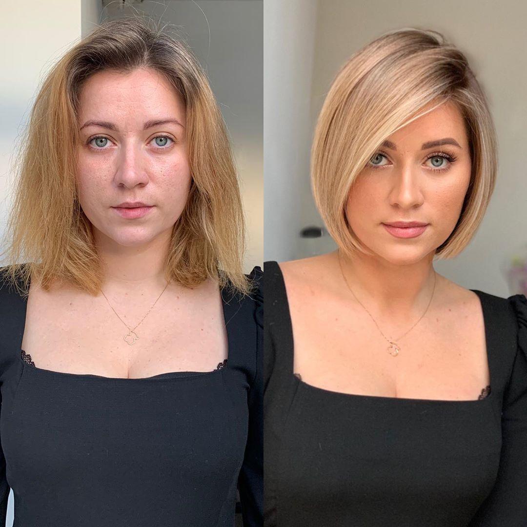 Light Blonde Side Part Bob Hair