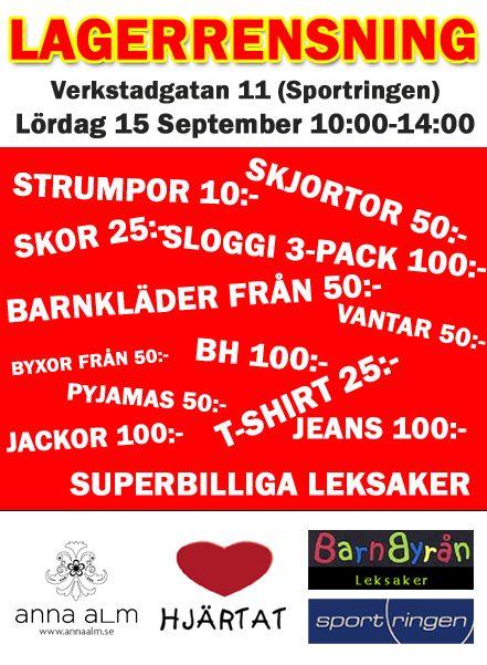 Lagerrensning på Verkstadsgatan 11 nu på lördag 10-14.  Sportringen tillsammans med Gallerian-butikerna !
