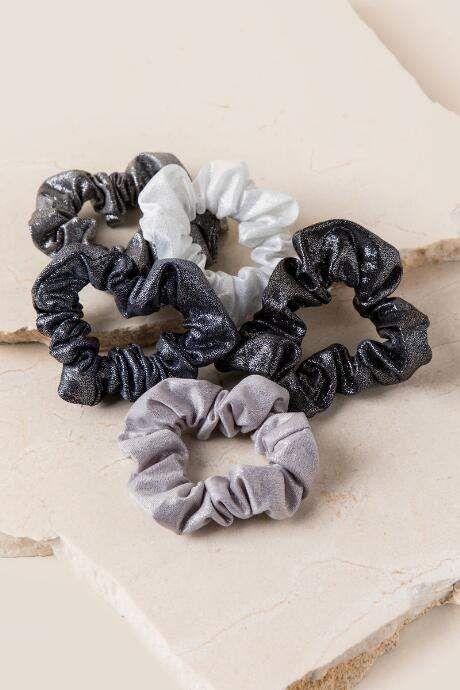 francesca s Francescas Karolina Sparkle Scrunchie Set in Black - Black 99497d7fd3b