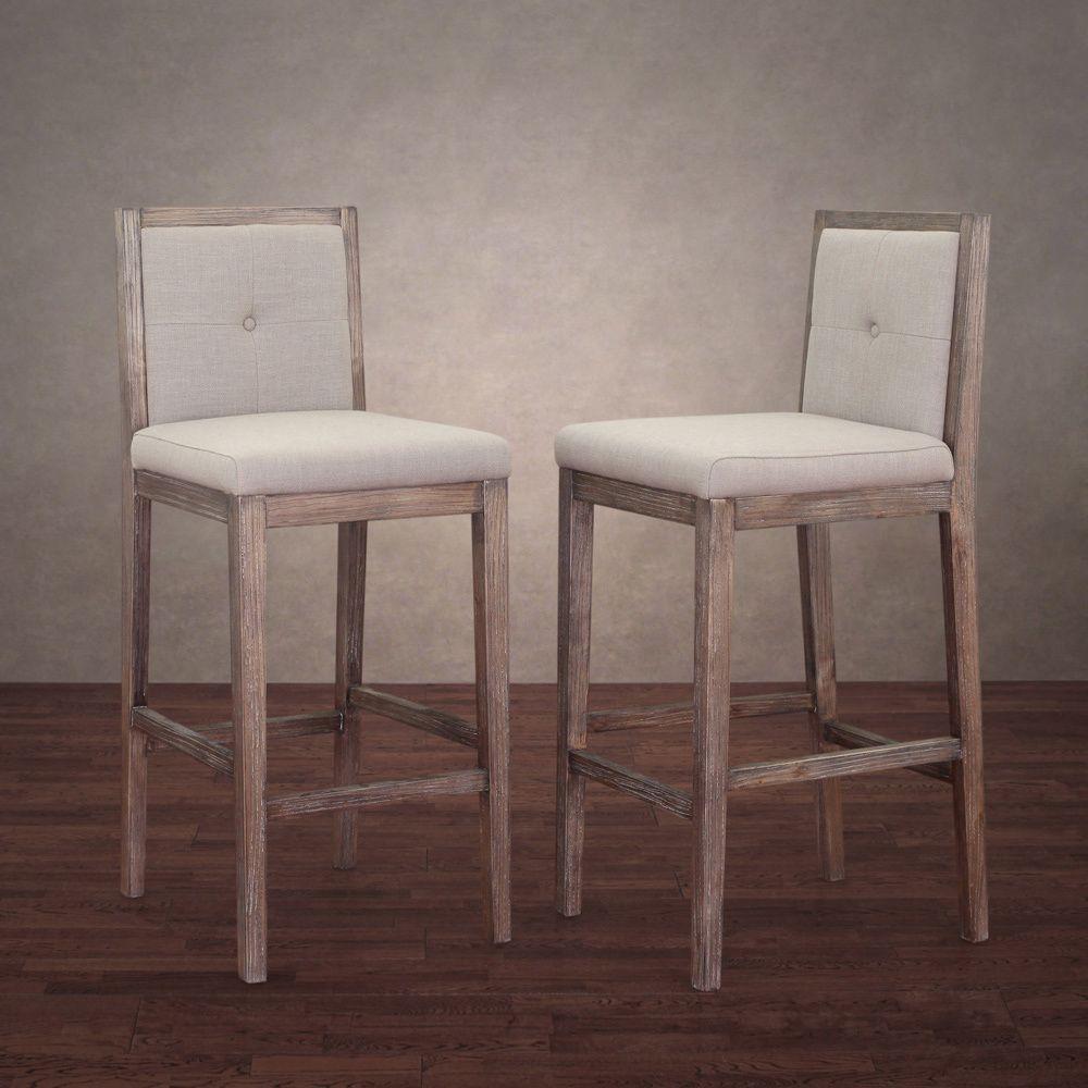 Patterson Beige Linen Barstools Set Of 2 Natural Linen