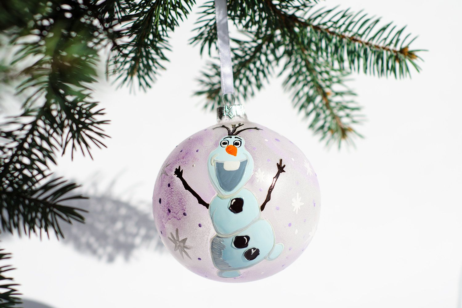 Frozen Olaf Ornament, Hand Painted Glass Ornaments, Christmas Bauble, Snowman Gift by Vitraaze on Etsy