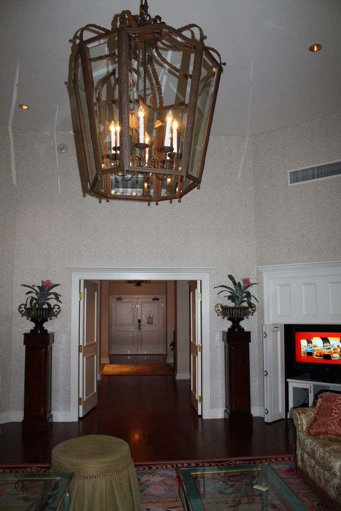 Giant chandelier looking at suite entry (With images