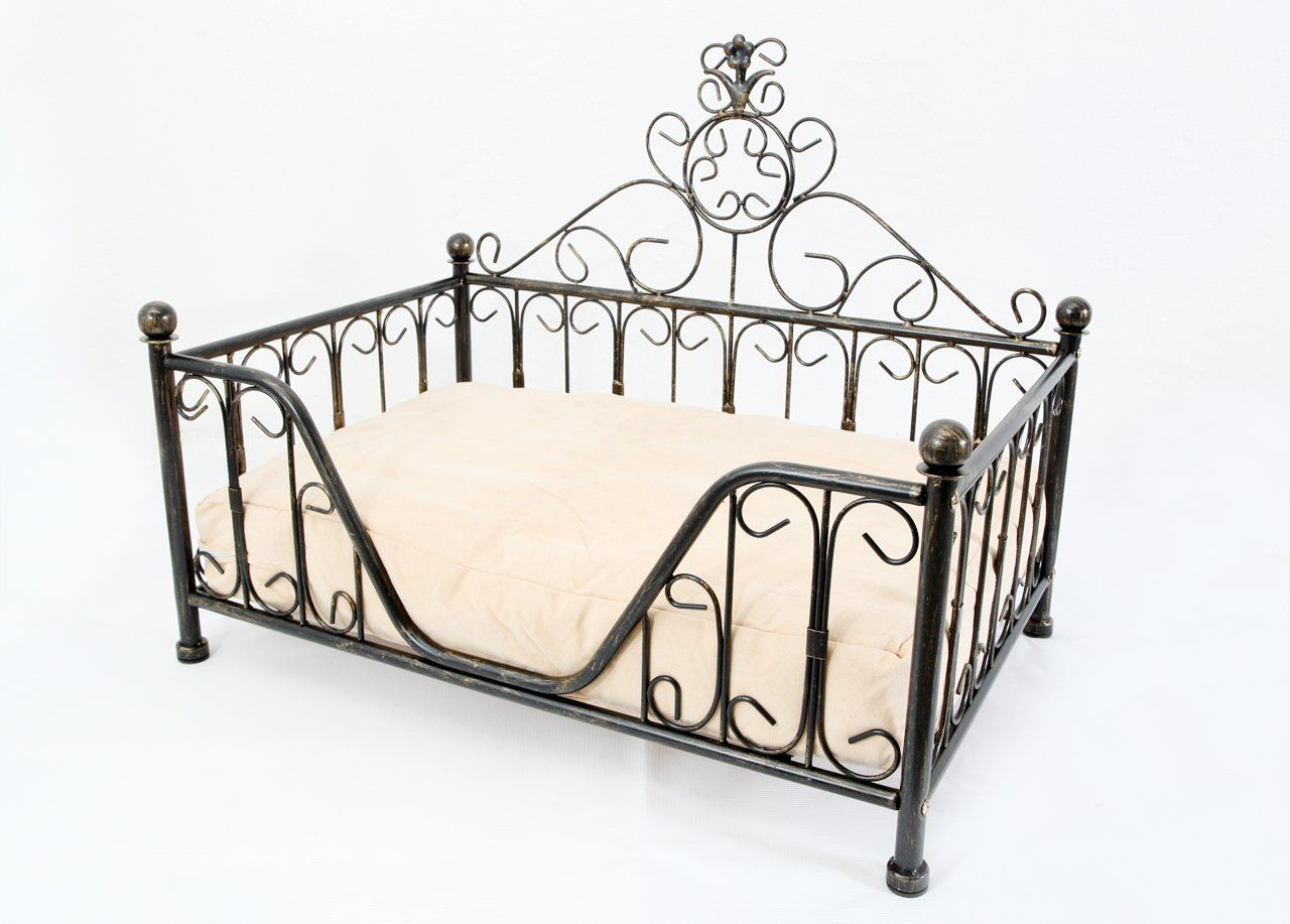 Black Metal Mini Bed Frame w/Cushion for Dog Cat Puppies Kittens ...