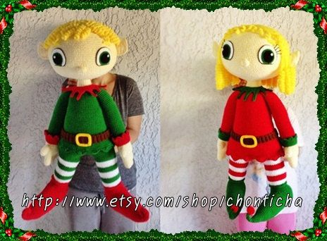 Patron amigurumi elfo : Elf couple 32 inches pdf amigurumi crochet pattern eu countries