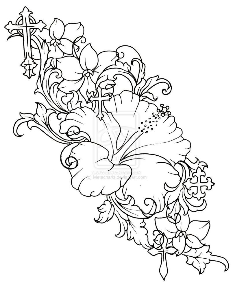 Image 235 by metacharis on deviantart lets color draw hibiscus flower tattoo by metacharis print image izmirmasajfo