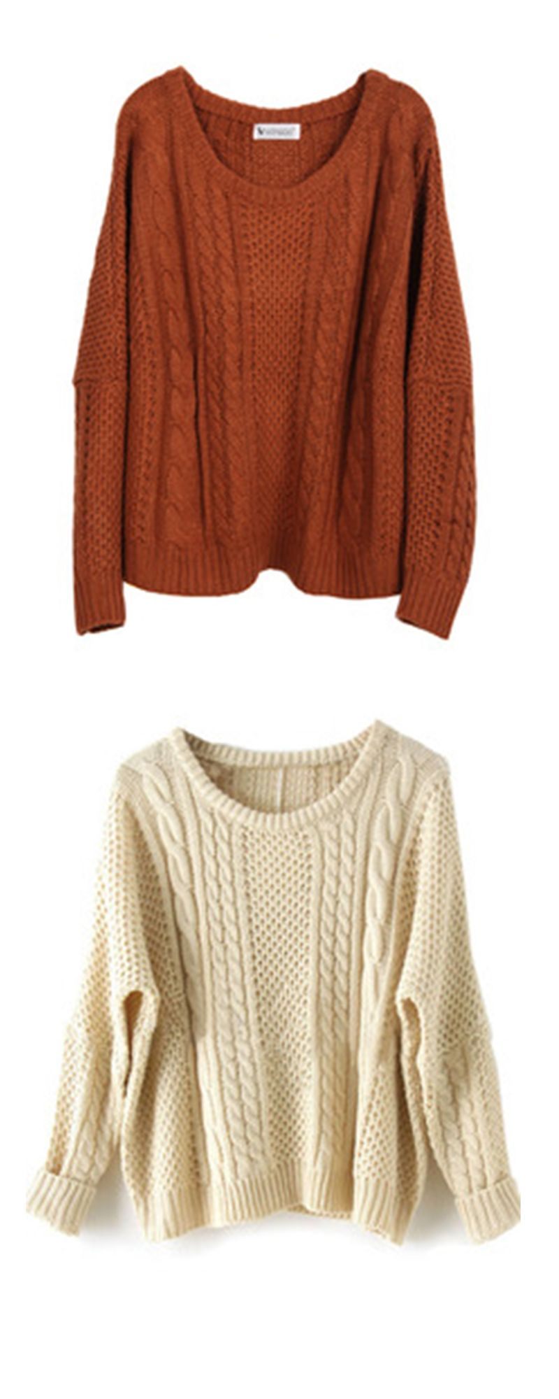 b6ac254814936 Loose Cable-Knit Sweater series : Apricot/Khaki Batwing Long Sleeve  Supersoft Pullovers Sweater .Really Really super soft !