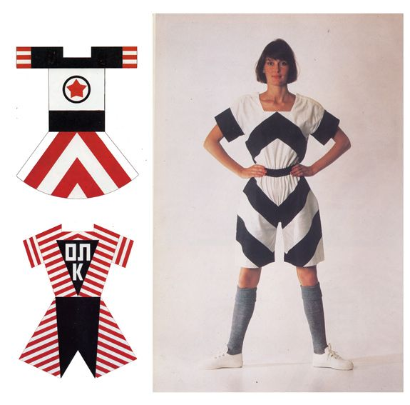 Clothes designed by Varvara Stepanova and recreated in the 1980s. russian avant-garde