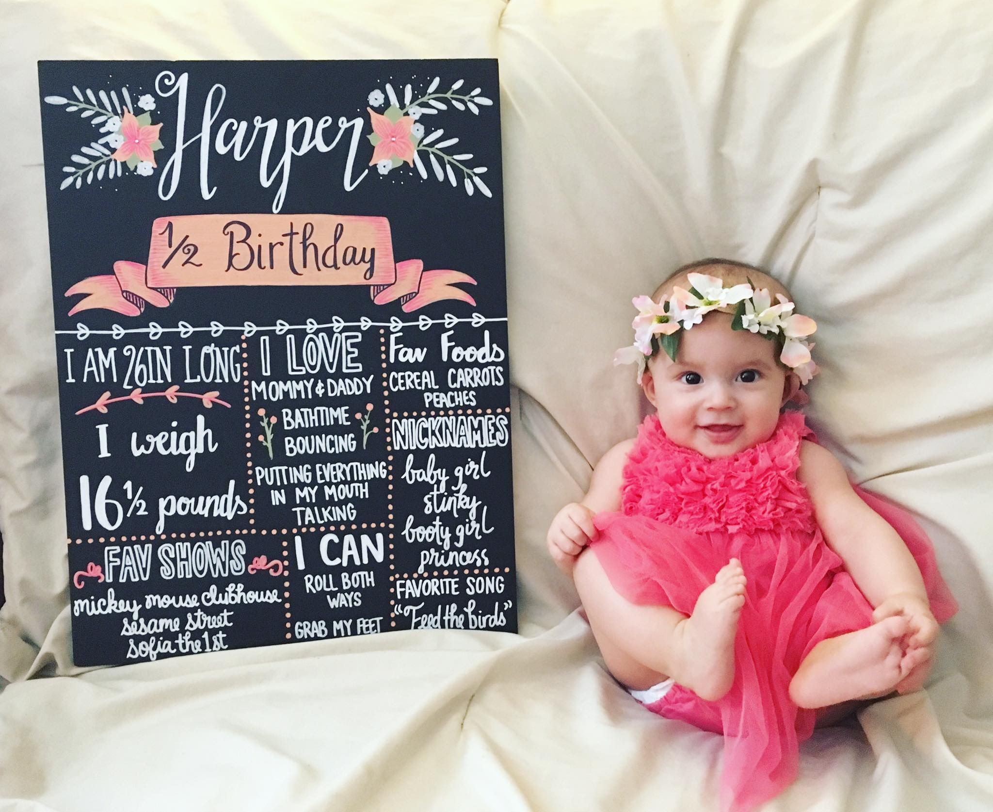 6 Month Half Birthday Baby Picture With Chalkboard And Flower Crown