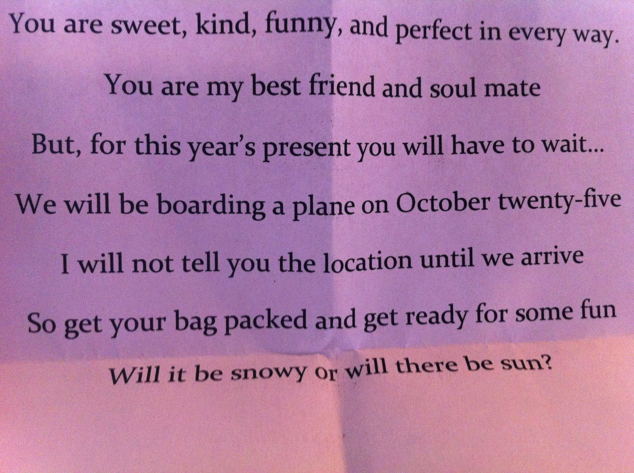 Poem For Vacation Surprise!