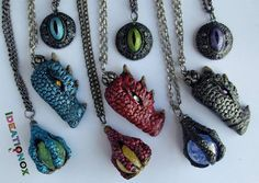Dragon Head, Eyes and Claw Necklaces by Ideationox.deviantart.com on @deviantART