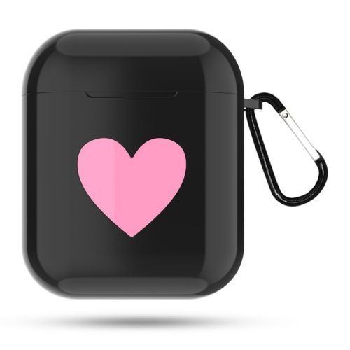 f2e85b3667b [$1.46]Heart Pattern Apple Wireless Earphones Charging Box Dust-proof  Shockproof Outdoor Protective Case for Airpods(Black)