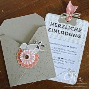 Einladungskarte mit dem Envelope Punch Board und dem Stempelset Polka-Dot Pieces von #StampinUp #CarosBastelbude #cardmaking #EnvelopePunchBoard #papercrafting carosbastelbude.wordpress.com