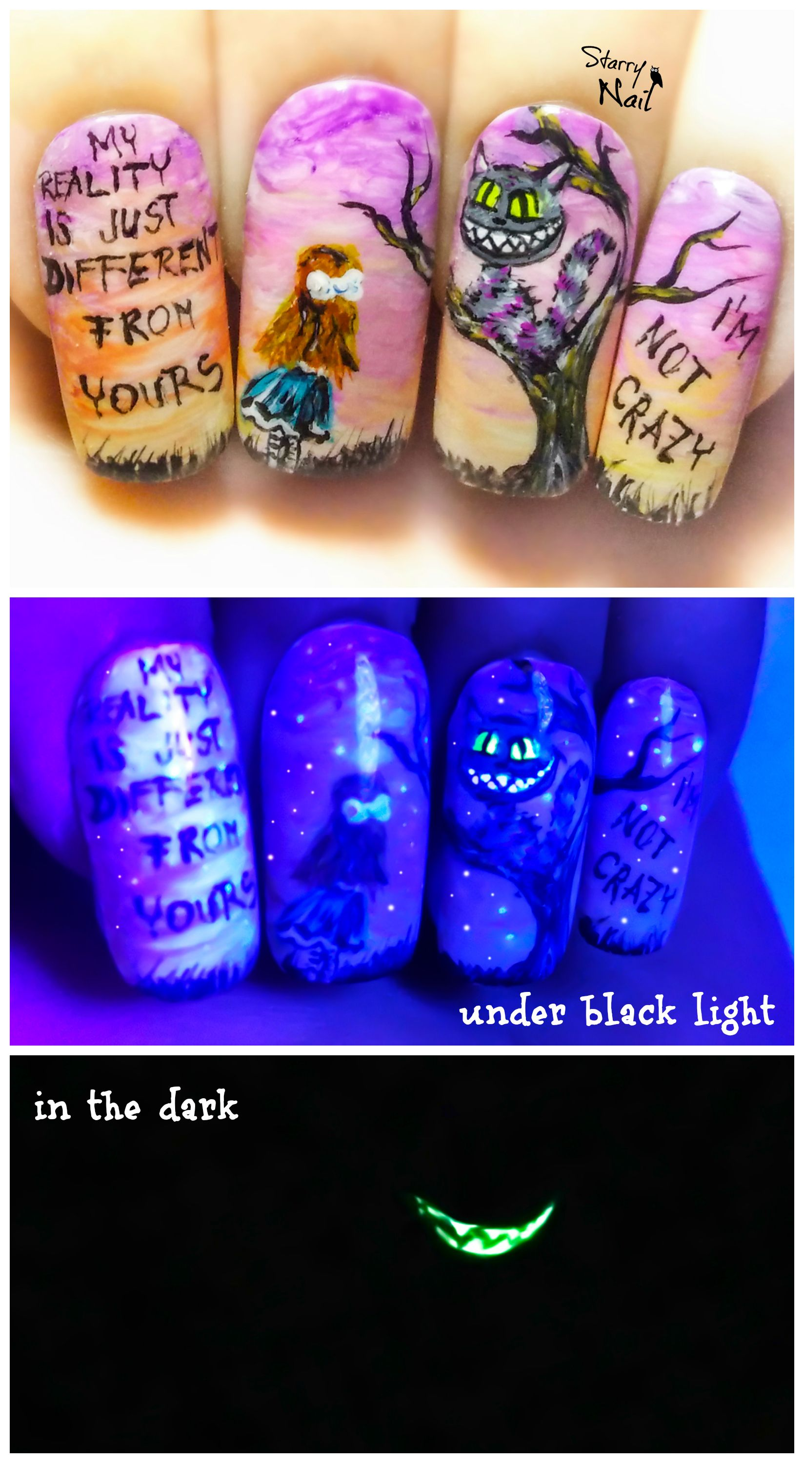 Alice in Wonderland ⎮ The Cheshire Cat ⎮ Glow in the Dark Freehand ...