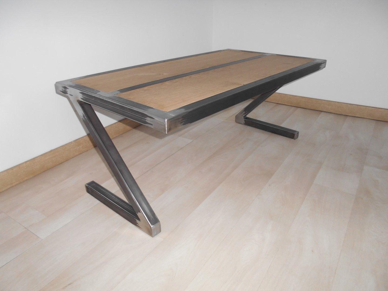 Table Basse Metal Bois Design Industriel Artisanale Plateau Chene Unique Copier Gh Ng If